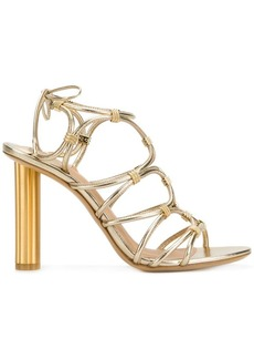 Ferragamo strappy metallic sandals