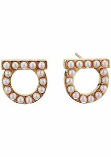 Ferragamo Stud Gancini Pearl Earrings