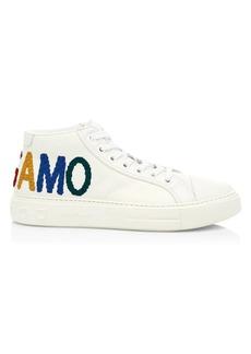 Ferragamo Tarifa 2 Mid-Top Leather Sneakers