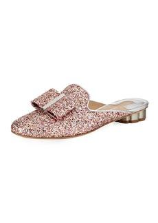 Ferragamo Tess Glitter Bow Slide Mule Flat with Flower Heel