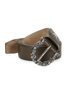 Ferragamo Textured Leaf Leather Belt