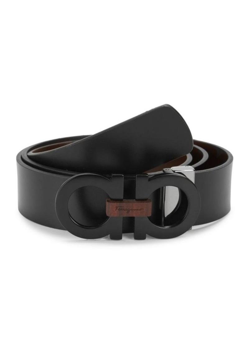 Ferragamo Tonal Double G Leather Belt