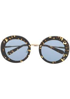Ferragamo tortoiseshell effect round sunglasses