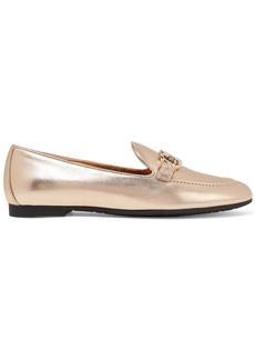 Ferragamo Trifoglio Embellished Metallic Leather Loafers