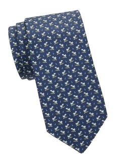 Ferragamo Turtle-Print Silk Tie
