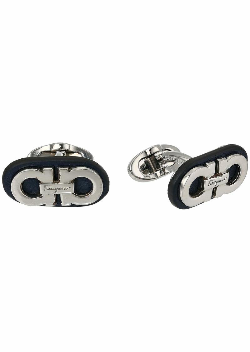 Ferragamo Two-Tone Double Gancini Cuff Links