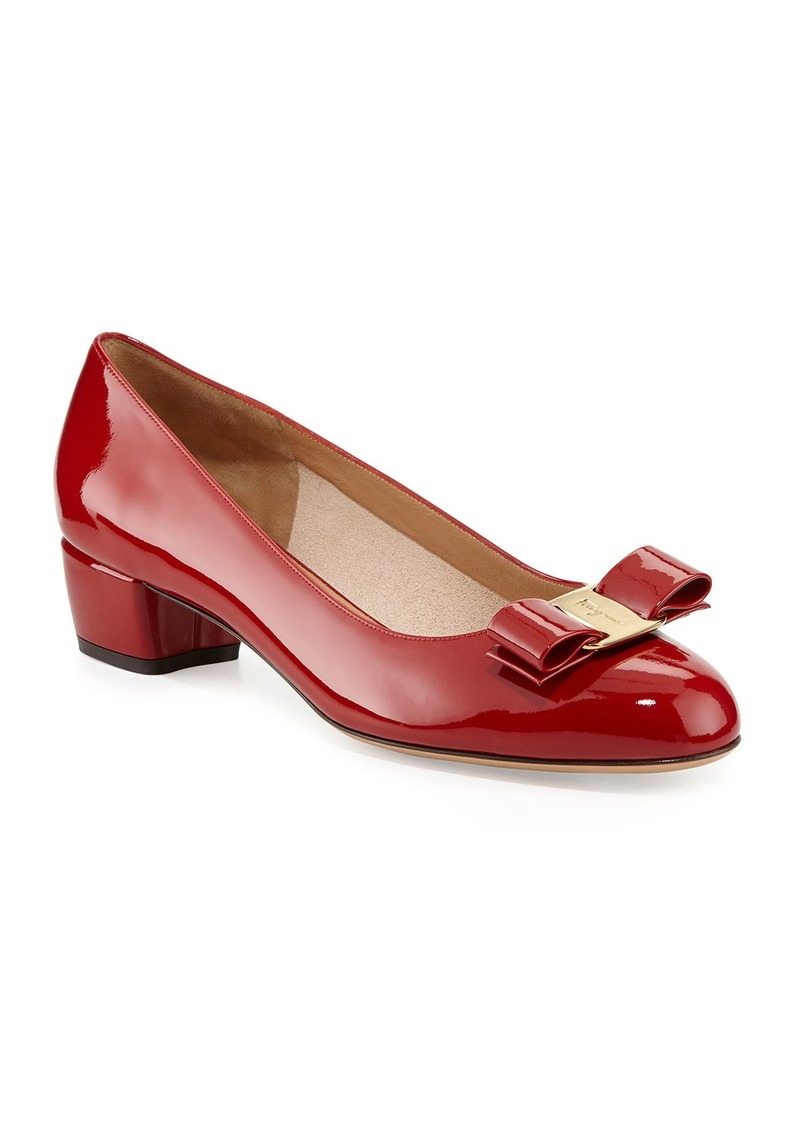 Ferragamo Vara 1 Patent Bow Pumps  Red (Rosso)
