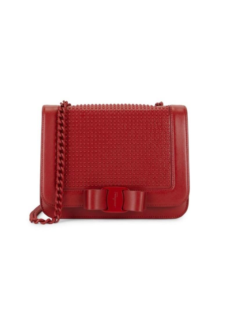 Ferragamo Vara Liberty Studded Bow Leather Crossbody Bag