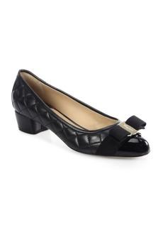 Ferragamo Vara Quilted Leather Block Heel Pumps