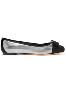 Ferragamo Varina Bow-embellished Faille-trimmed Metallic Leather Ballet Flats