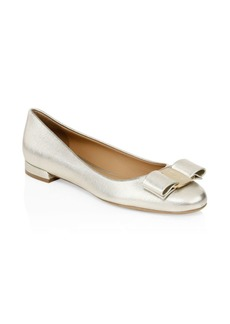 Ferragamo Varina Gold Bow Leather Flats