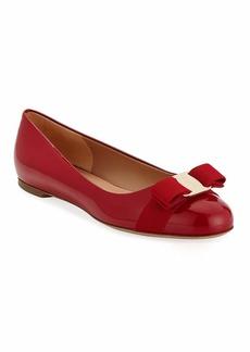 Ferragamo Varina Patent Bow Ballet Flats  Rosso (Red)