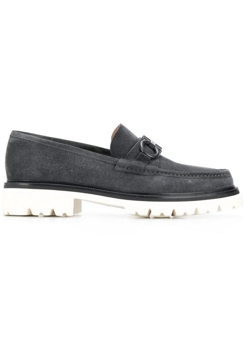 Ferragamo white sole loafers