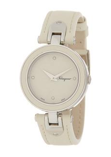 Ferragamo Women's Giglio Diamond Leather Strap Watch, 32mm
