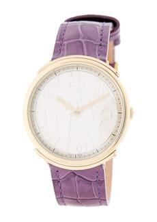 Ferragamo Women's Logomania Croc Embossed Leather Strap Quartz Watch, 35mm