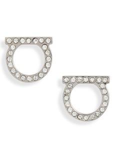 Women's Salvatore Ferragamo Medium Pave Gancio Stud Earrings