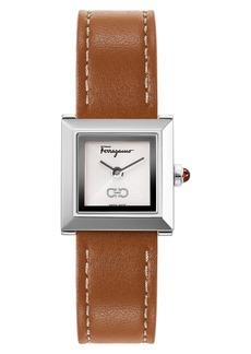 Women's Salvatore Ferragamo Square Leather Strap Watch