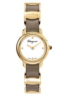 Women's Salvatore Ferragamo Varina Leather Strap Watch