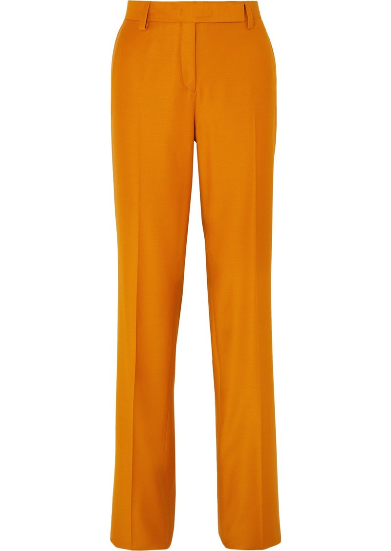 Ferragamo Wool And Silk-blend Straight-leg Pants