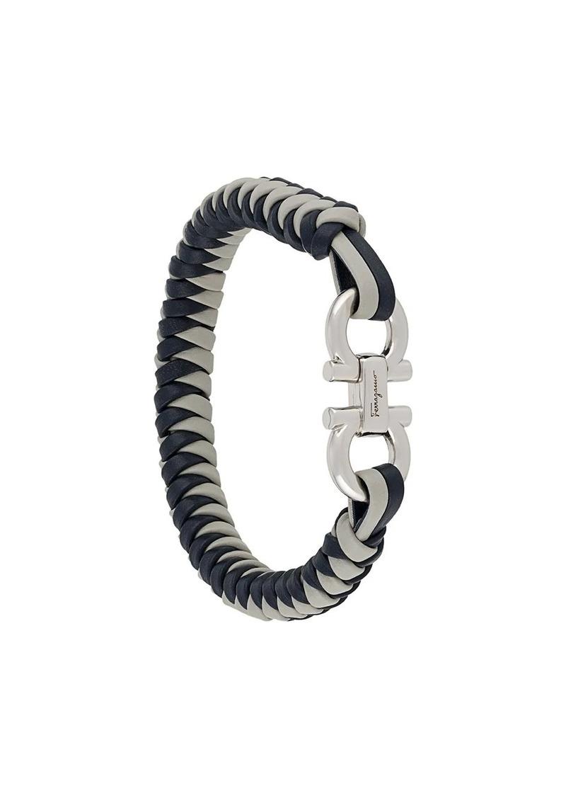 Ferragamo woven-strap Gancini-plaque bracelet