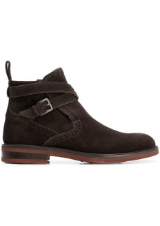 Ferragamo wrap around buckle strap boots