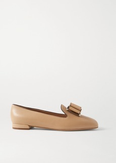 Ferragamo Zaneta Bow-embellished Textured-leather Loafers