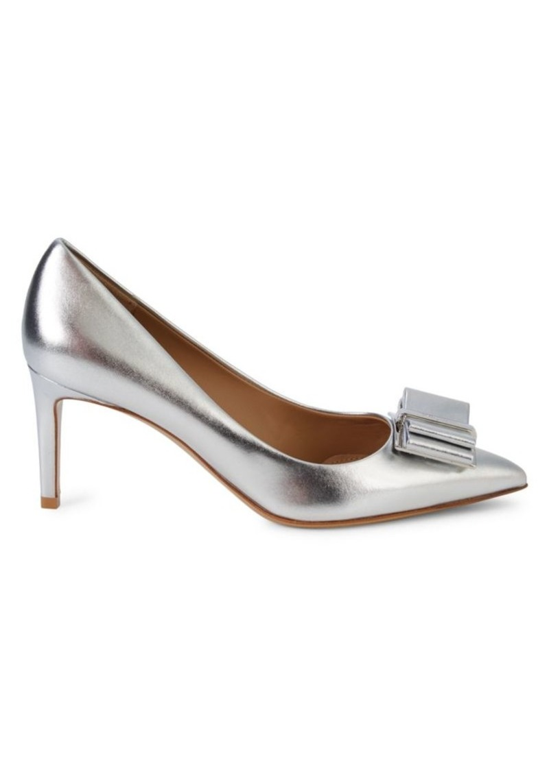 Ferragamo Zeri Metallic Leather Pumps
