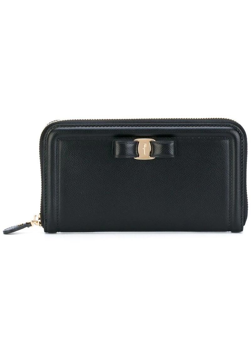 Ferragamo zip-around Vara bow wallet