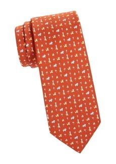 Ferragamo Zoo Print Silk Tie