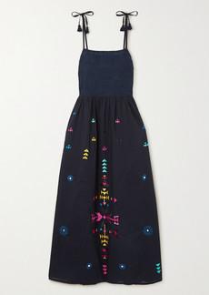 Figue Azalea Embroidered Cotton Midi Dress