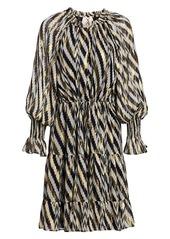 Figue Bohemian Rhapsody Kaia Metallic Zebra Chevron Stripe Puff-Sleeve Lurex Silk Midi Dress
