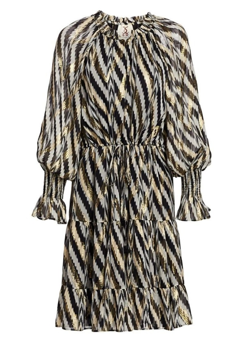 Bohemian Rhapsody Kaia Metallic Zebra Chevron Stripe Puff-Sleeve Lurex Silk Midi Dress