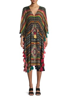 Figue Amirta V-Neck Long-Sleeve Striped Silk Kaftan