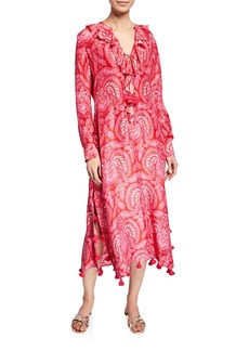 Figue Cerelina Paisley Print Long-Sleeve Dress