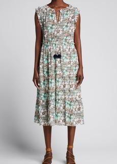 Figue Clare Floral-Print Tie-Neck Midi Dress