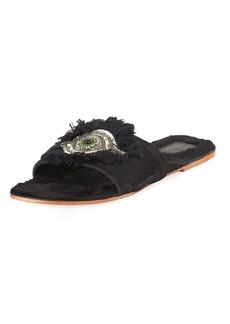 Figue Fringed Evil Eye Flat Fur Slide Sandal