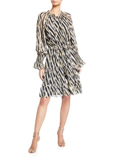 Figue Kala Geometric-Striped Knee-Length Dress