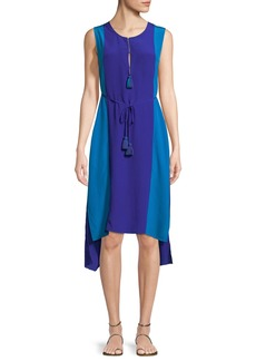 Figue Karina Colorblock Tie-Waist Silk Dress