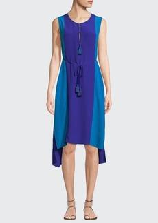 Figue Karina Colorblock Tie-Waist Silk Dress