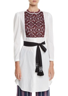 Figue Perine Embroidered-Bib Tie-Waist Dress