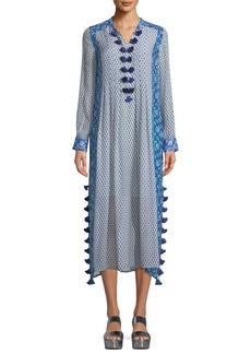 Figue V-Neck Long-Sleeve Printed Silk Georgette Midi Kaftan w/ Tassel Trim