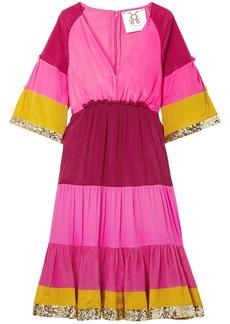 Figue Woman Fiona Sequin-embellished Color-block Silk Crepe De Chine Dress Pink