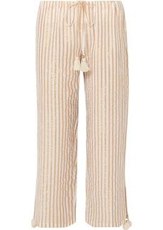 Figue Woman Goa Cropped Striped Cotton And Lurex-blend Wide-leg Pants Gold