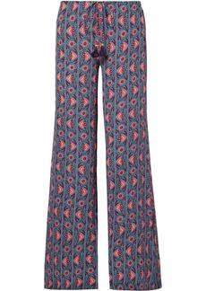 Figue Woman Ipanema Printed Silk Crepe De Chine Wide-leg Pants Light Blue