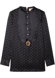 Figue Woman Milagro Embellished Polka-dot Silk-satin Blouse Black