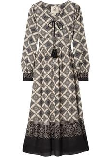 Figue Woman Nova Bow-detailed Printed Voile Midi Dress Black