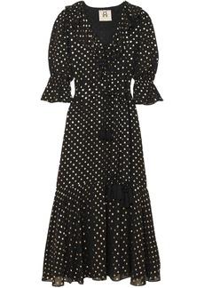 Figue Woman Nyla Ruffle-trimmed Polka-dot Georgette Maxi Dress Black