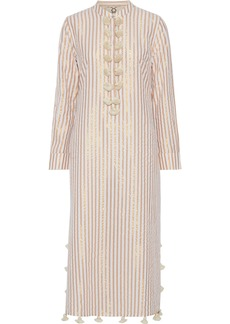 Figue Woman Paolina Tassel-trimmed Striped Cotton And Lurex-blend Midi Dress Gold