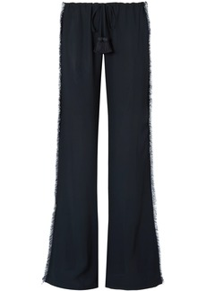 Figue Woman Simone Fringed Crepe Wide-leg Pants Midnight Blue