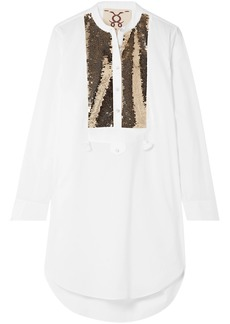 Figue Woman Thalie Sequined-paneled Cotton-voile Tunic White